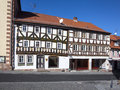 Apostel half timbered house in fairy tale town of steinau Stock Images