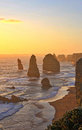 Apostles great ocean road australia the sun is setting on the on the in Stock Images