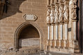 Apostles statues placed on the left side of the Evora Cathedral Portal in Portugal. Royalty Free Stock Photo