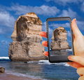 Apostles taking picture of in australia Royalty Free Stock Photography