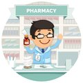 Apothecary behind the counter at pharmacy round banner isolated on white background clipping paths included in additional jpg Stock Photos