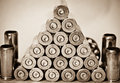 Apotheosis of war conception on a theme pyramid from shell casings sepia toned Royalty Free Stock Photo