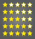 App icons glass set five glossy yellow stars ratings vector illustration Royalty Free Stock Photography