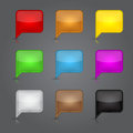 App icons glass set. Glossy empty speech bubble we Royalty Free Stock Photo