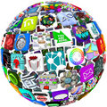 App Icons in a Sphere Pattern Royalty Free Stock Images