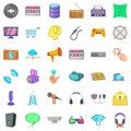App widget icons set, cartoon style Royalty Free Stock Photo