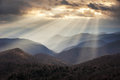 Appalachian mountains crepuscular light rays on blue ridge parkway ridges nc travel destination scenic in western north carolina Royalty Free Stock Photography