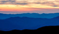 Appalachian mountains in shadows during sunrise Royalty Free Stock Image