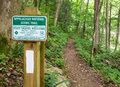 Appalachian trail marker signage and white blaze marks the in north carolina Royalty Free Stock Photography