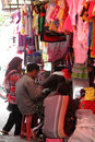 Apparel merchants sell in a village market in sukoharjo central java indonesia Royalty Free Stock Photos