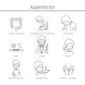 Appendicitis Symptoms Icons Set