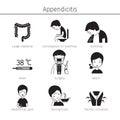 Appendicitis Symptoms Icons Set, Monochrome