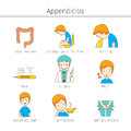 Appendicitis Symptoms Outline Icons Set