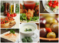 Appetiser collage of different appetizer showing chicken wings soup olives and others Royalty Free Stock Image