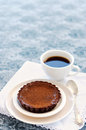 Appetising chocolate dessert with coffee cup of served a delicious and decadent pie Stock Photo