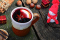 Appetite for mulled wine christmas table Stock Image