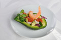 Appetizer of avocado with prawns Royalty Free Stock Photo