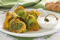 Appetizer of broccoli in the batter Stock Photos