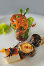 Appetizer green bamboo shoot abalone mushroom jellyfish tofu Stock Photo
