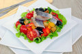 Appetizer of herring and vegetables with croutons Royalty Free Stock Photo
