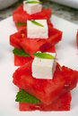 Appetizer mediterranean made with watermelon cheese and mint Stock Photo