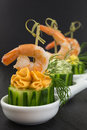 Appetizer with prawn of cream cheese shrimp on cucumber Stock Photos