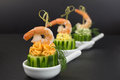 Appetizer with prawn of cream cheese shrimp on cucumber Stock Photography