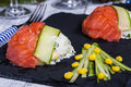 Appetizer with rice, corn and salmon Royalty Free Stock Photo