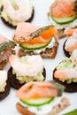 Appetizer of smoked salmon & king prawns Royalty Free Stock Images