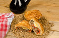Appetizer spanish meat pie traditional with red wine Stock Photo