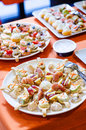Appetizers seafood cheese and vegetables Royalty Free Stock Photo