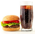 Appetizing cheeseburger and cola Royalty Free Stock Images