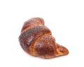 Appetizing croissant with poppy isolated close up Stock Image