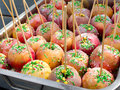 Appetizing delicious dessert baked caramel apples. Royalty Free Stock Photo