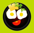 Appetizing delicious fried eggs Royalty Free Stock Photos