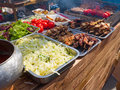 Appetizing delicious fried meat with vegetable salad and tomatoes on a barbecue grill outdoors selective focus Stock Image