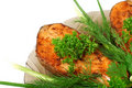 Appetizing fried salmon Stock Photo