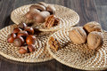 Appetizing hazelnuts and walnuts Royalty Free Stock Photography