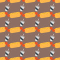 Appetizing hot dog seamless pattern background mustard ketchup fresh wheat buns vector illustration