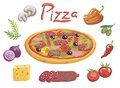 Appetizing Italian pizza and ingredients for its preparation