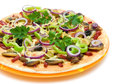 Appetizing pizza closeup on a white background Royalty Free Stock Photo