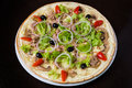 Appetizing pizza with meat of chicken mozzarella cheese and Stock Photography