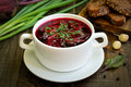 Appetizing red borscht soup Royalty Free Stock Photo