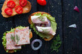 Appetizing sandwiches with meat and vegetables spices Royalty Free Stock Photo
