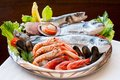 Appetizing seafood platter close up of mediterranean Stock Images