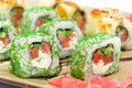 Appetizing tasty japan rolls close up horizontal photo japanese cuisine Royalty Free Stock Photo