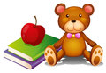 An apple above the books and a huggable bear illustration of on white background Royalty Free Stock Image