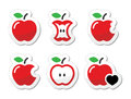 Apple apple core bitten half labels set red icons of apples isolated on white Royalty Free Stock Photo