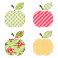 Apple applique vintage with roses gingham polka dot and striped fabrics Stock Image