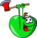 Apple with an axe cartoon style illustrated vector format is available Royalty Free Stock Photo